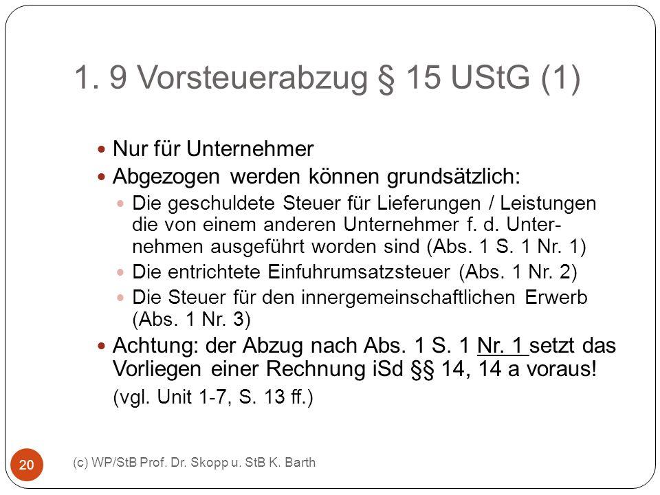 1. 9 Vorsteuerabzug § 15 UStG (1) (c) WP/StB Prof. Dr. Skopp u. StB K. Barth 20 Nur für Unternehmer Abgezogen werden können grundsätzlich: Die geschul