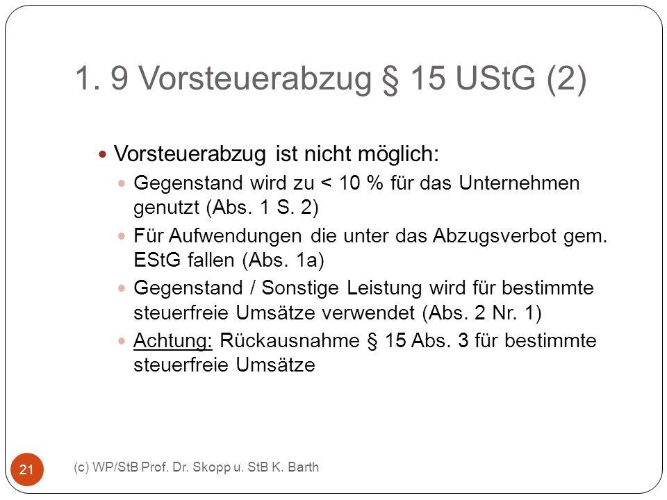 1. 9 Vorsteuerabzug § 15 UStG (2) (c) WP/StB Prof. Dr. Skopp u. StB K. Barth 21 Vorsteuerabzug ist nicht möglich: Gegenstand wird zu < 10 % für das Un