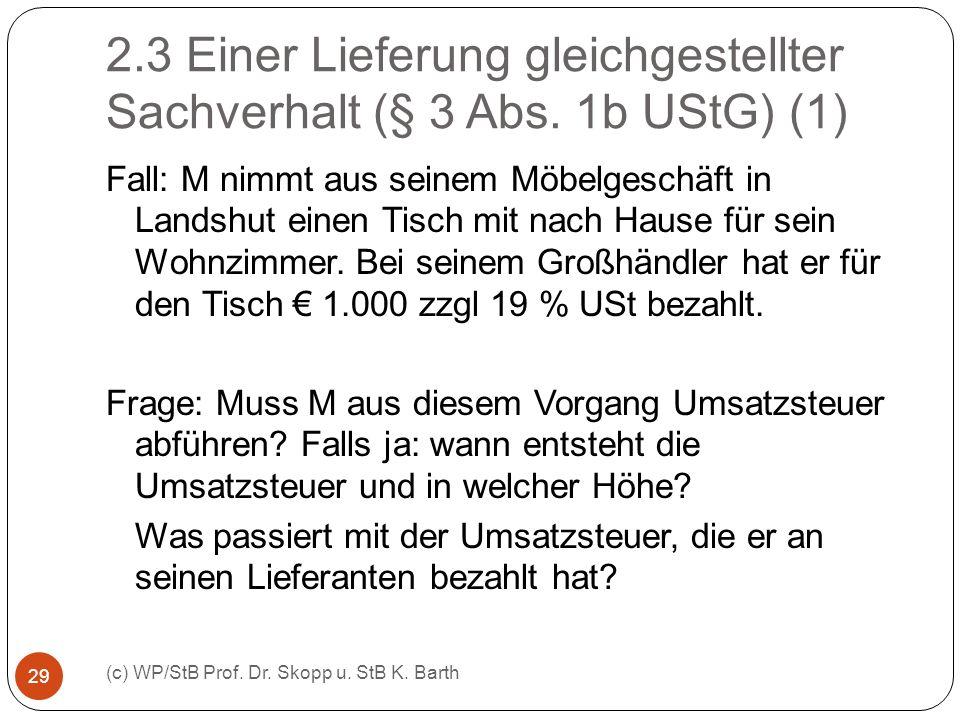 2.3 Einer Lieferung gleichgestellter Sachverhalt (§ 3 Abs. 1b UStG) (1) (c) WP/StB Prof. Dr. Skopp u. StB K. Barth 29 Fall: M nimmt aus seinem Möbelge