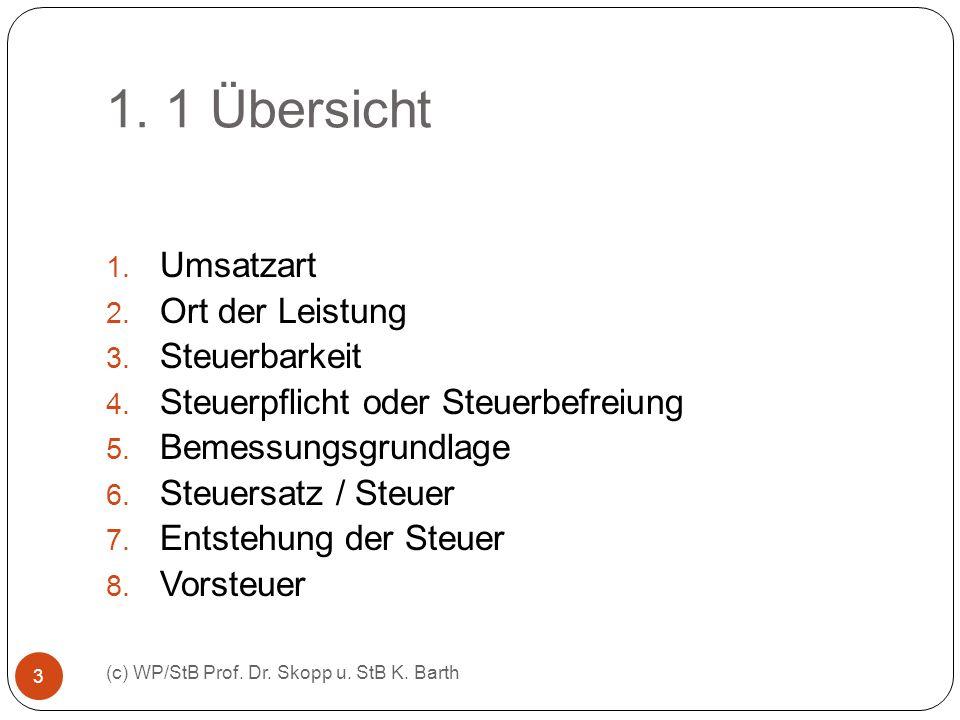 1. 1 Übersicht (c) WP/StB Prof. Dr. Skopp u. StB K. Barth 3 1. Umsatzart 2. Ort der Leistung 3. Steuerbarkeit 4. Steuerpflicht oder Steuerbefreiung 5.