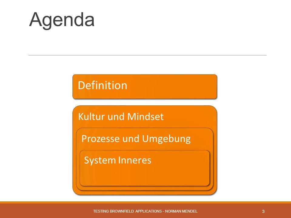 Agenda TESTING BROWNFIELD APPLICATIONS - NORMAN MENDEL 3 Kultur und Mindset Prozesse und Umgebung System Inneres Definition
