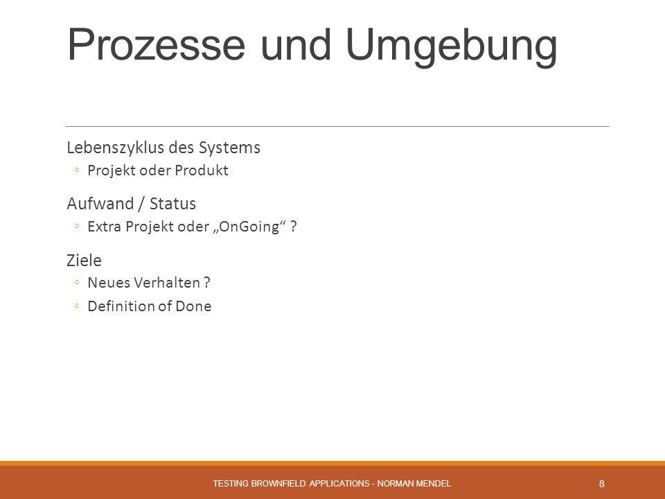 Prozesse und Umgebung Lebenszyklus des Systems Projekt oder Produkt Aufwand / Status Extra Projekt oder OnGoing .