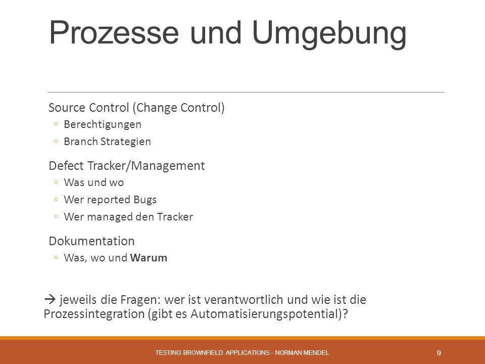 Prozesse und Umgebung Source Control (Change Control) Berechtigungen Branch Strategien Defect Tracker/Management Was und wo Wer reported Bugs Wer managed den Tracker Dokumentation Was, wo und Warum jeweils die Fragen: wer ist verantwortlich und wie ist die Prozessintegration (gibt es Automatisierungspotential).