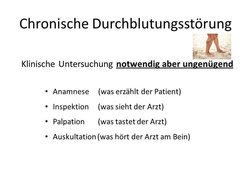 Chronische Durchblutungsstörung Klinische Untersuchung notwendig aber ungenügend Anamnese (was erzählt der Patient) Inspektion (was sieht der Arzt) Pa
