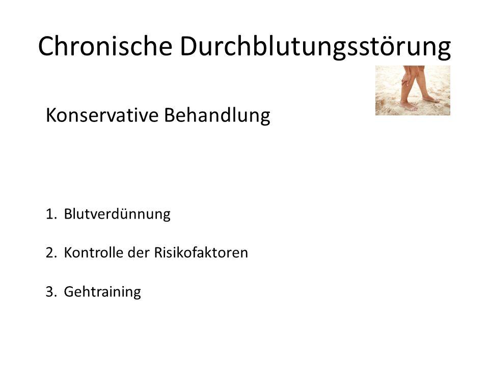 Chronische Durchblutungsstörung Konservative Behandlung 1.Blutverdünnung 2.Kontrolle der Risikofaktoren 3.Gehtraining
