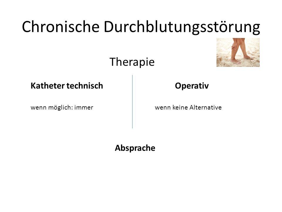 Katheter technisch Chronische Durchblutungsstörung Therapie Operativ wenn möglich: immerwenn keine Alternative Absprache