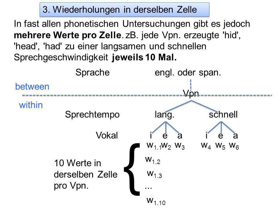 3. Wiederholungen in derselben Zelle In fast allen phonetischen Untersuchungen gibt es jedoch mehrere Werte pro Zelle. zB. jede Vpn. erzeugte 'hid', '