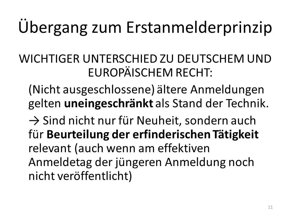 Übergang zum Erstanmelderprinzip WICHTIGER UNTERSCHIED ZU DEUTSCHEM UND EUROPÄISCHEM RECHT: (Nicht ausgeschlossene) ältere Anmeldungen gelten uneingeschränkt als Stand der Technik.