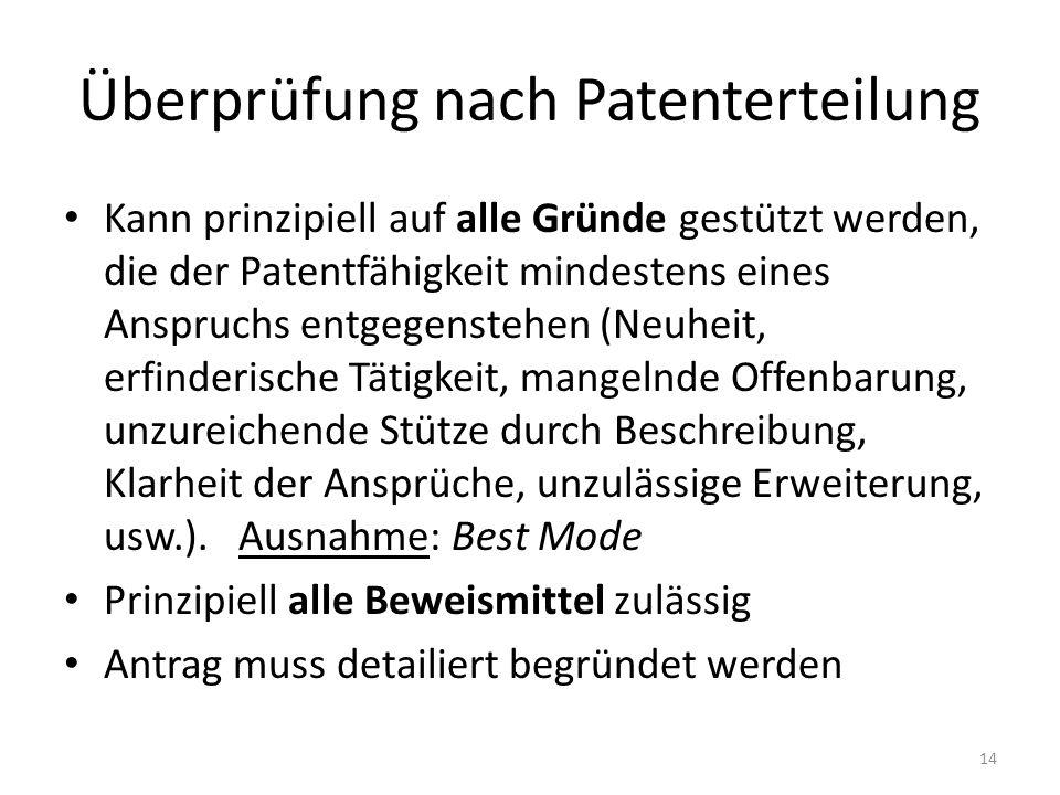Überprüfung nach Patenterteilung Kann prinzipiell auf alle Gründe gestützt werden, die der Patentfähigkeit mindestens eines Anspruchs entgegenstehen (Neuheit, erfinderische Tätigkeit, mangelnde Offenbarung, unzureichende Stütze durch Beschreibung, Klarheit der Ansprüche, unzulässige Erweiterung, usw.).