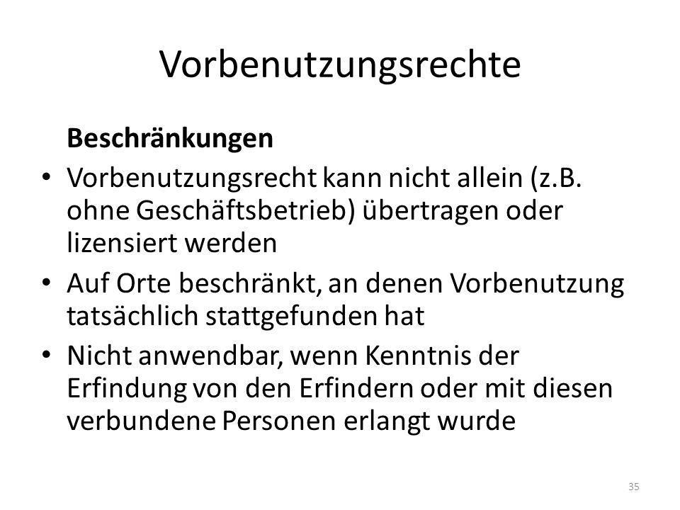 Vorbenutzungsrechte Beschränkungen Vorbenutzungsrecht kann nicht allein (z.B.
