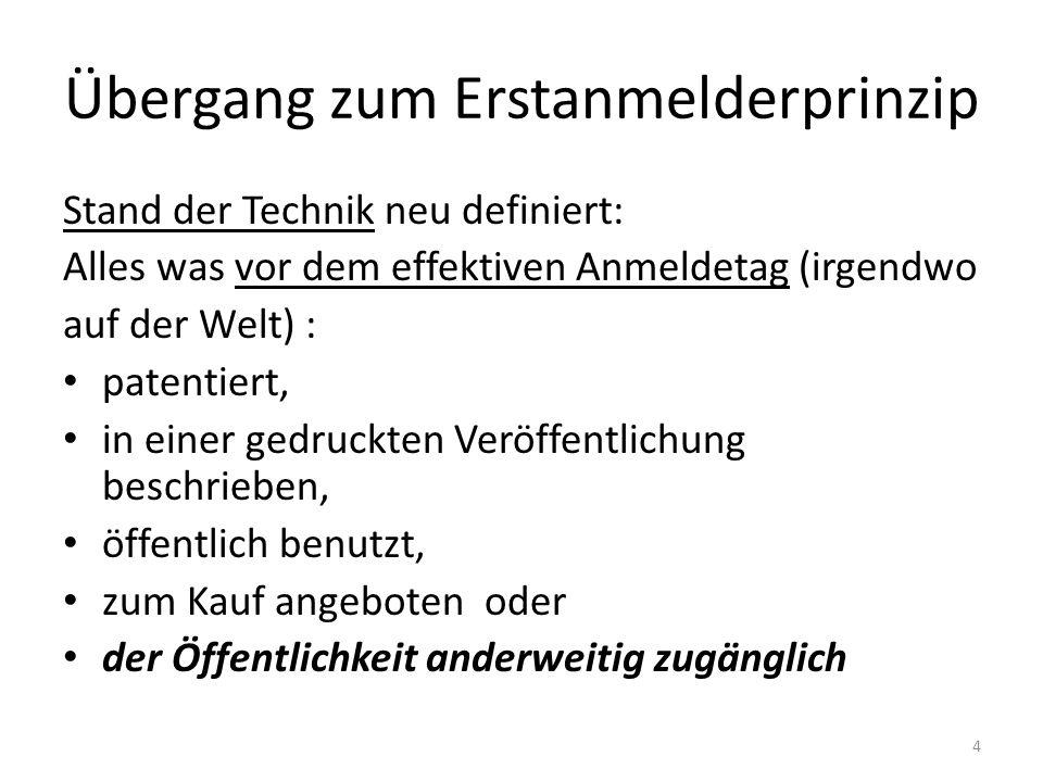 Übergang zum Erstanmelderprinzip Stand der Technik neu definiert: Alles was vor dem effektiven Anmeldetag (irgendwo auf der Welt) : patentiert, in ein
