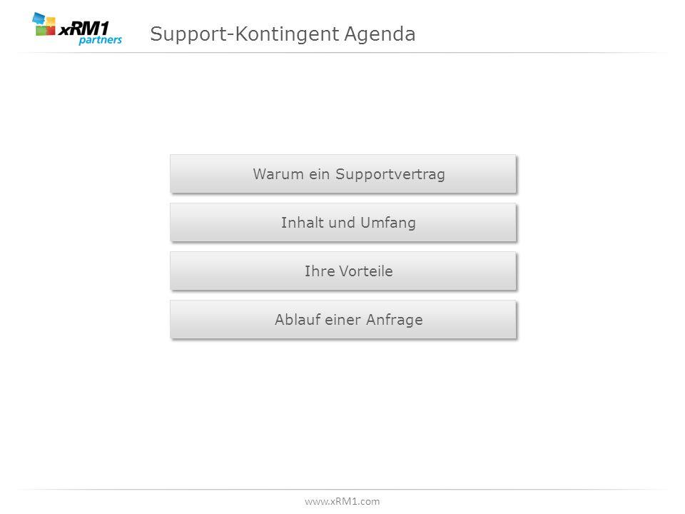 www.xRM1.com Support-Kontingent Agenda Warum ein Supportvertrag Inhalt und Umfang Ihre Vorteile Ablauf einer Anfrage
