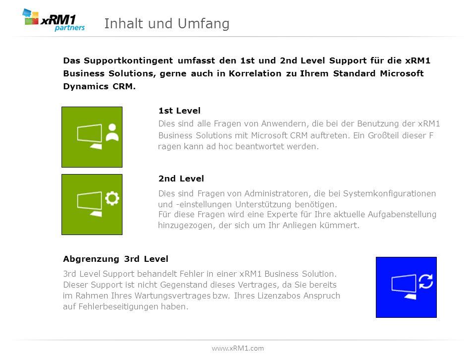 www.xRM1.com Inhalt und Umfang Das Supportkontingent umfasst den 1st und 2nd Level Support für die xRM1 Business Solutions, gerne auch in Korrelation