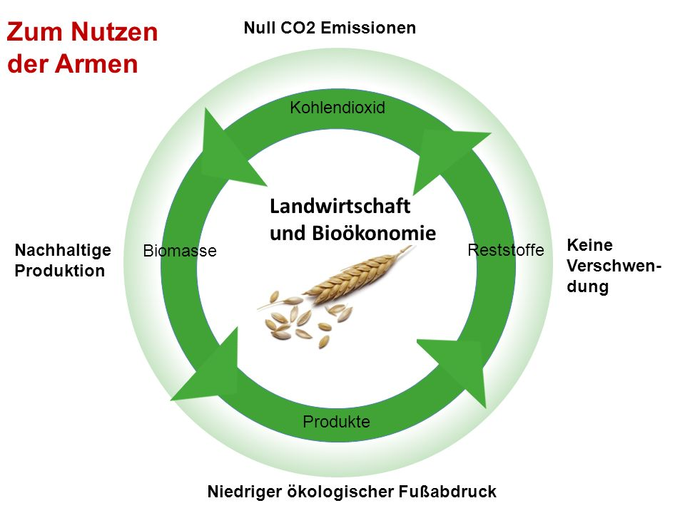 Keine Verschwen- dung Landwirtschaft Kohlendioxid Biomasse Produkte Reststoffe Landwirtschaft und Bioökonomie Nachhaltige Produktion Null CO2 Emission