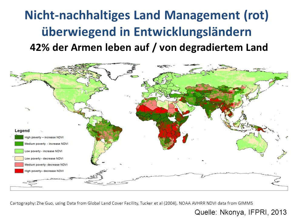 Nicht-nachhaltiges Land Management (rot) überwiegend in Entwicklungsländern Cartography: Zhe Guo, using Data from Global Land Cover Facility, Tucker e