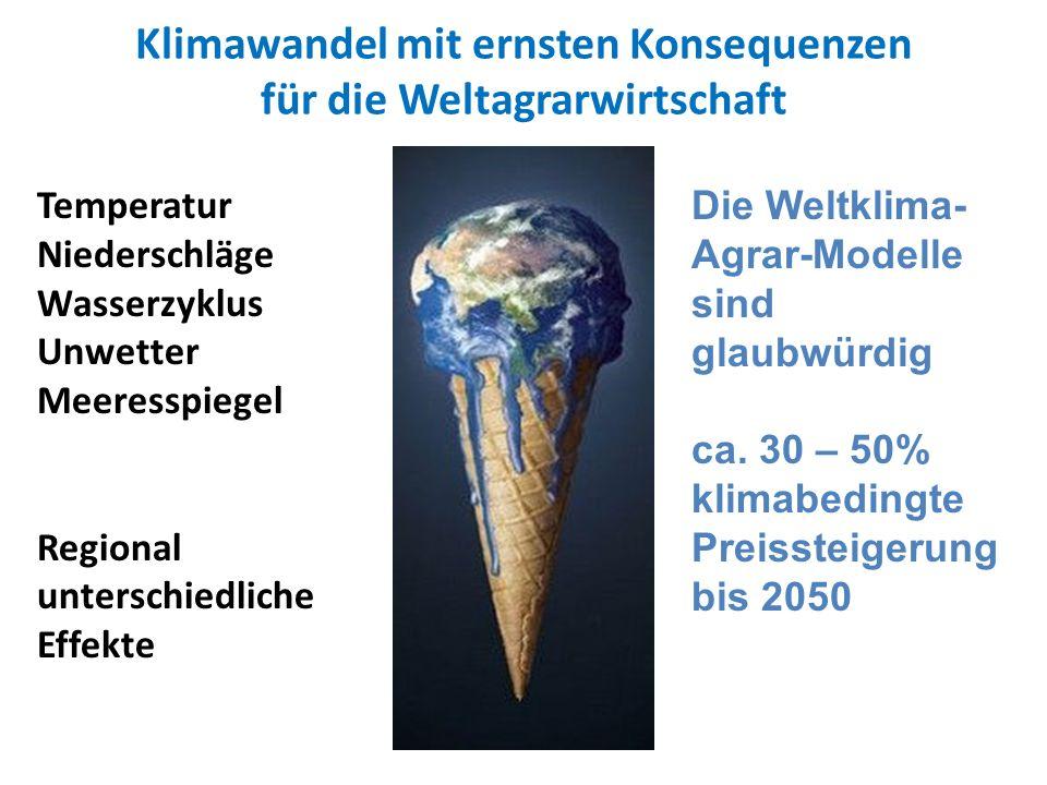 Klimawandel mit ernsten Konsequenzen für die Weltagrarwirtschaft Temperatur Niederschläge Wasserzyklus Unwetter Meeresspiegel Regional unterschiedlich