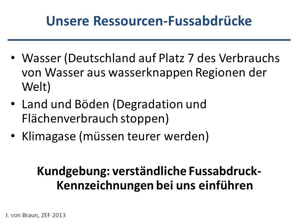 Unsere Ressourcen-Fussabdrücke Wasser (Deutschland auf Platz 7 des Verbrauchs von Wasser aus wasserknappen Regionen der Welt) Land und Böden (Degradat