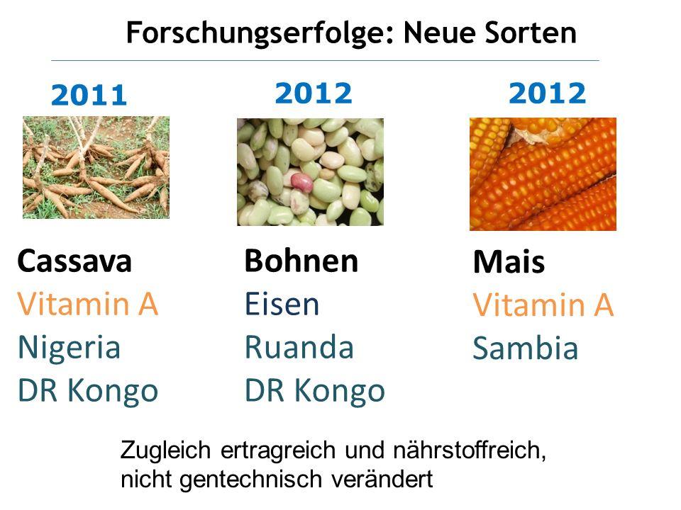 2011 2 Cassava Vitamin A Nigeria DR Kongo Bohnen Eisen Ruanda DR Kongo Mais Vitamin A Sambia 2012 Forschungserfolge: Neue Sorten Zugleich ertragreich