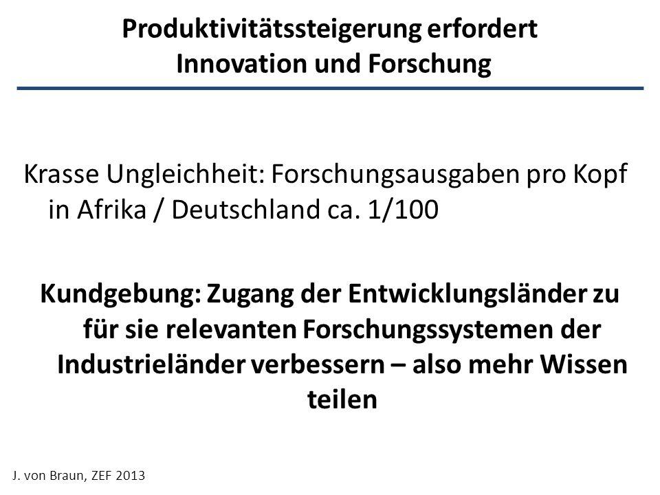 Produktivitätssteigerung erfordert Innovation und Forschung Krasse Ungleichheit: Forschungsausgaben pro Kopf in Afrika / Deutschland ca. 1/100 Kundgeb