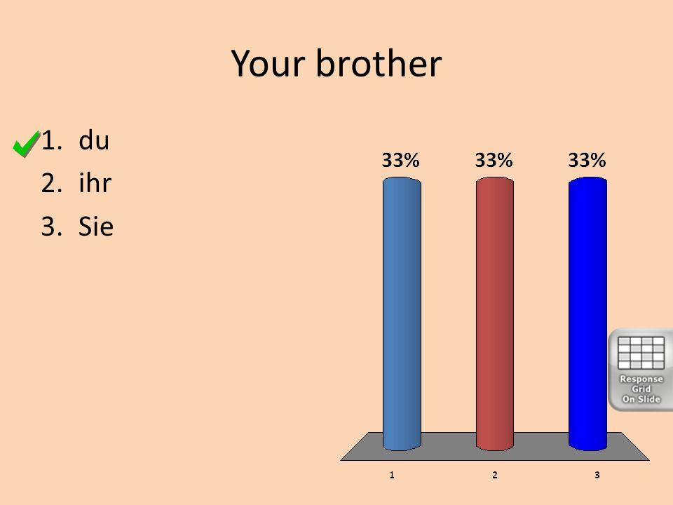 Your brother 1.du 2.ihr 3.Sie