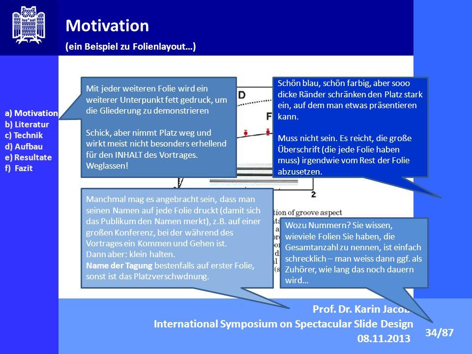 Motivation Prof. Dr. Karin Jacobs International Symposium on Spectacular Slide Design 08.11.2013 34/87 a) Motivation b) Literatur c) Technik d) Aufbau
