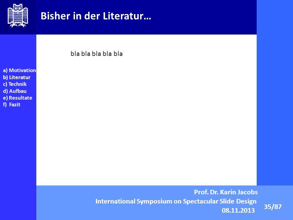 Bisher in der Literatur… 35/87 a) Motivation b) Literatur c) Technik d) Aufbau e) Resultate f) Fazit bla bla bla bla bla Prof. Dr. Karin Jacobs Intern