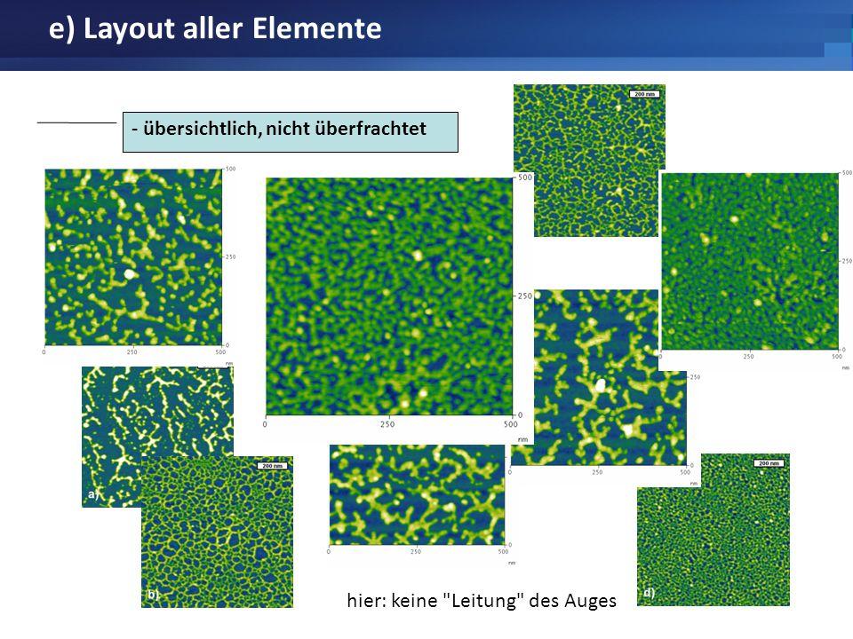 e) Layout aller Elemente - übersichtlich, nicht überfrachtet hier: keine