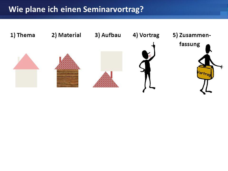 Vortrag Wie plane ich einen Seminarvortrag? 1) Thema2) Material3) Aufbau4) Vortrag5) Zusammen- fassung