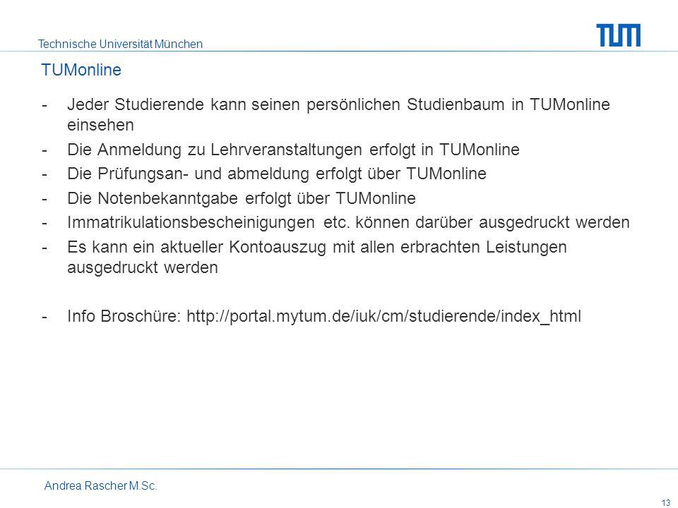 Technische Universität München Andrea Rascher M.Sc. 13 -Jeder Studierende kann seinen persönlichen Studienbaum in TUMonline einsehen -Die Anmeldung zu