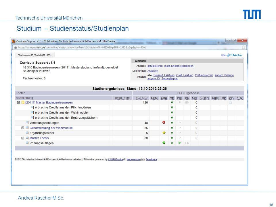 Technische Universität München Andrea Rascher M.Sc. 16 Studium – Studienstatus/Studienplan