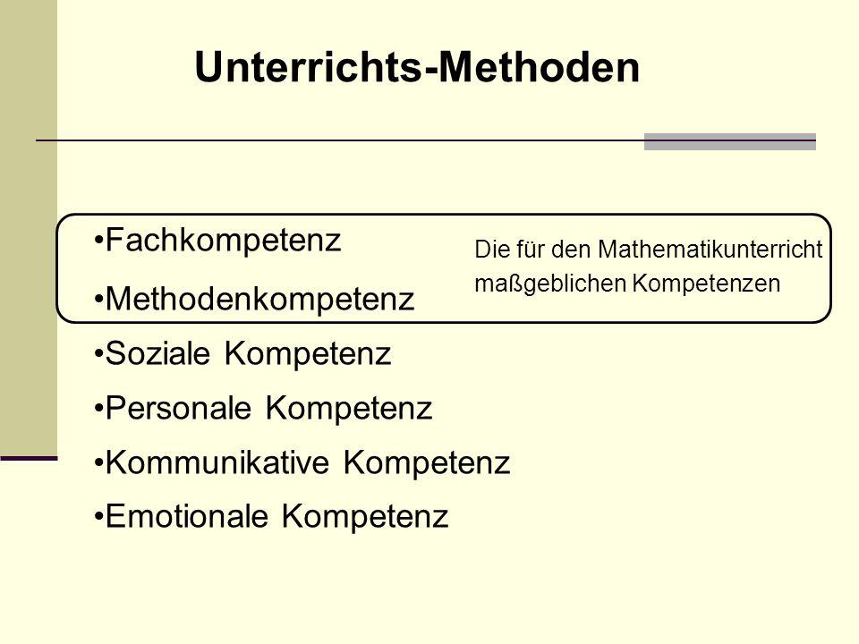 Fachkompetenz Methodenkompetenz Soziale Kompetenz Personale Kompetenz Kommunikative Kompetenz Emotionale Kompetenz Die für den Mathematikunterricht maßgeblichen Kompetenzen Unterrichts-Methoden