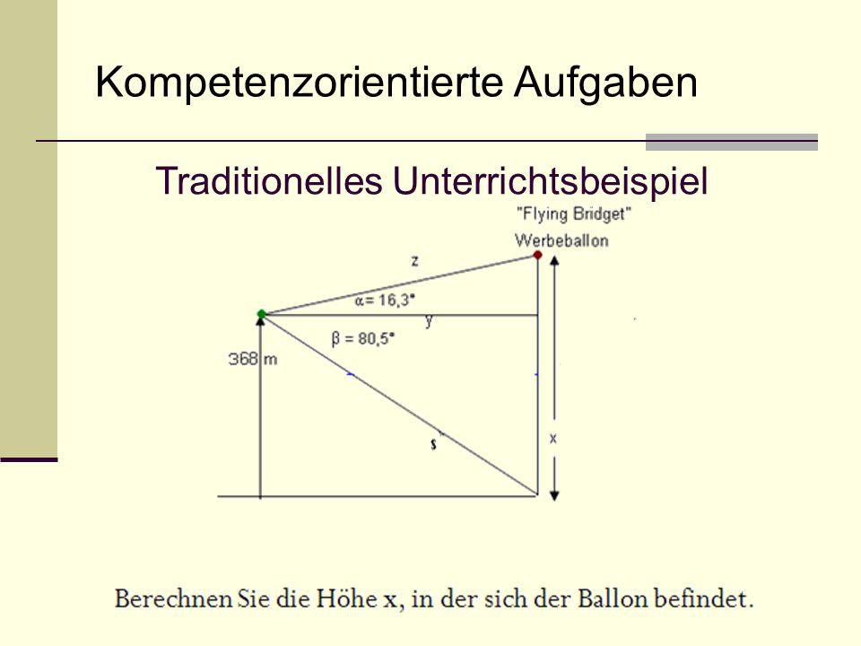 Kompetenzorientierte Aufgaben Traditionelles Unterrichtsbeispiel