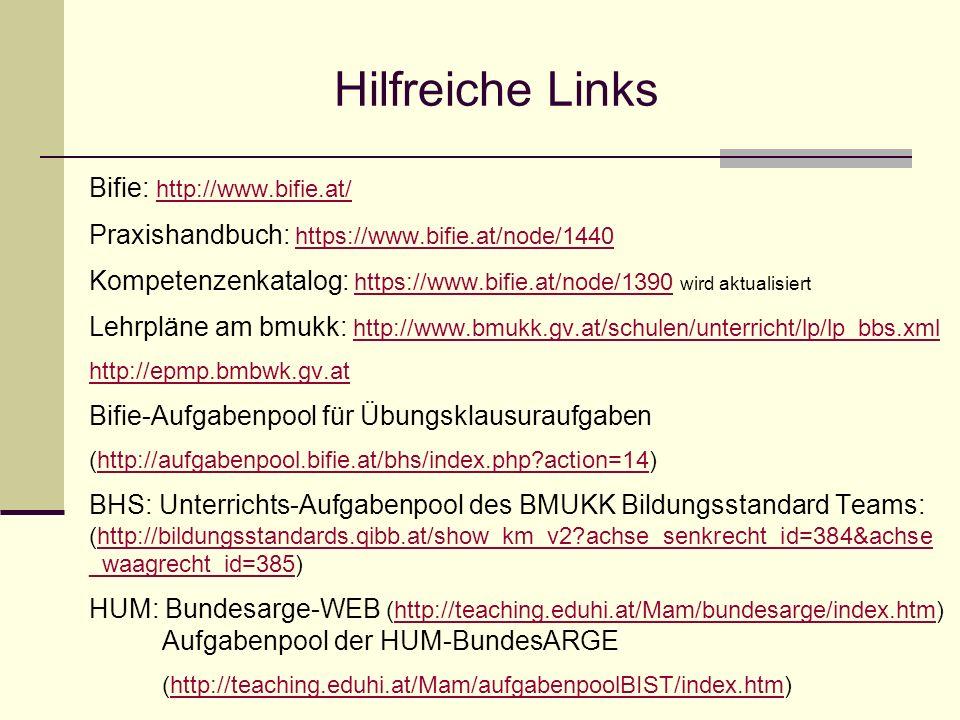 Bifie: http://www.bifie.at/ http://www.bifie.at/ Praxishandbuch: https://www.bifie.at/node/1440https://www.bifie.at/node/1440 Kompetenzenkatalog: http
