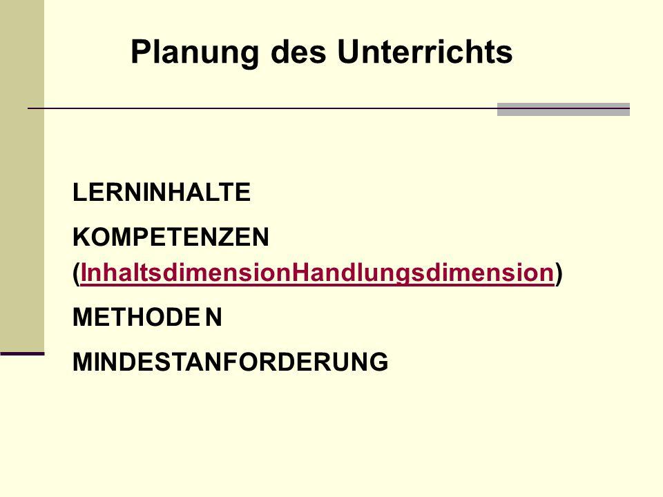 LERNINHALTE KOMPETENZEN (InhaltsdimensionHandlungsdimension)InhaltsdimensionHandlungsdimension METHODEN MINDESTANFORDERUNG Planung des Unterrichts