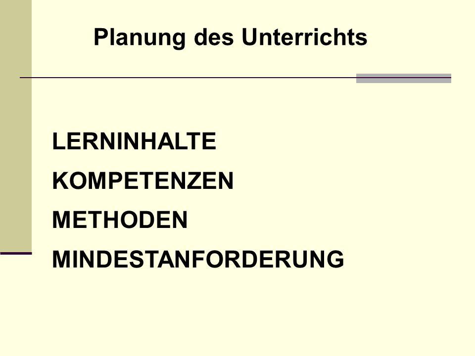 LERNINHALTE KOMPETENZEN METHODEN MINDESTANFORDERUNG Planung des Unterrichts