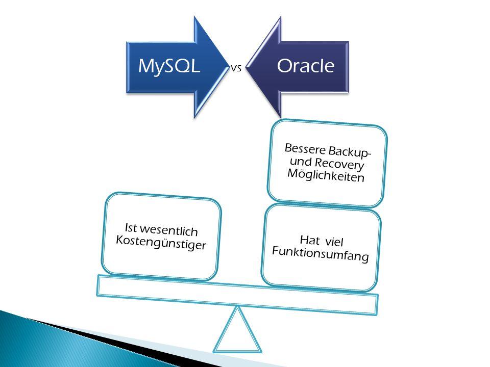 MySQLOracle vs Hat viel Funktionsumfang Bessere Backup- und Recovery Möglichkeiten Ist wesentlich Kostengünstiger
