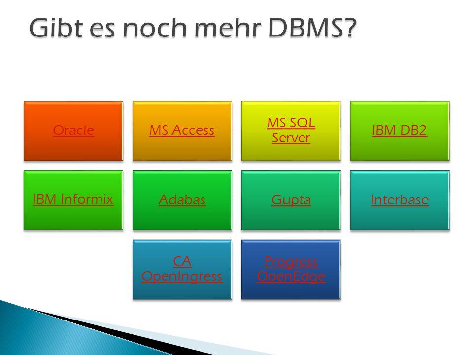 OracleMS Access MS SQL Server IBM DB2 IBM Informix AdabasGuptaInterbase CA OpenIngress Progress OpenEdge