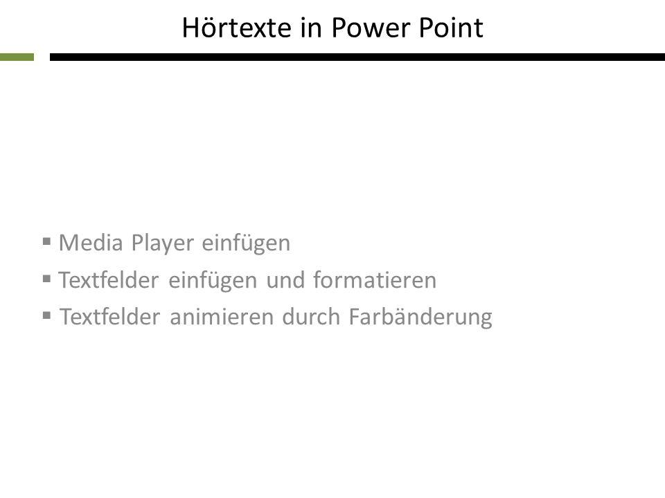Hörtexte in Power Point Media Player einfügen Textfelder einfügen und formatieren Textfelder animieren durch Farbänderung
