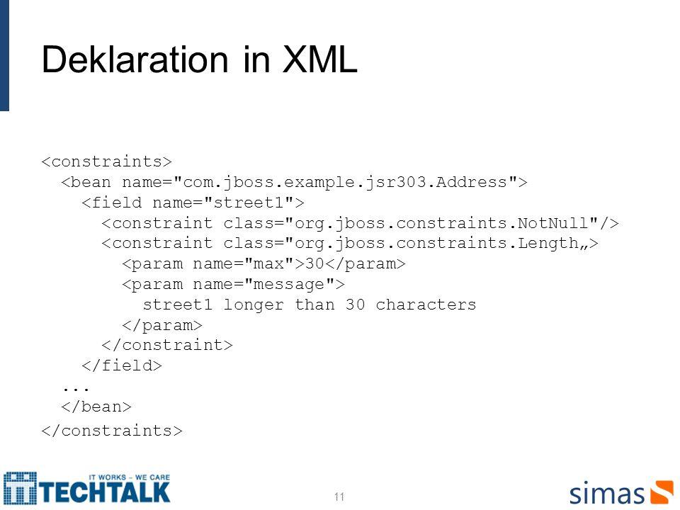 Deklaration in XML 30 street1 longer than 30 characters... 11