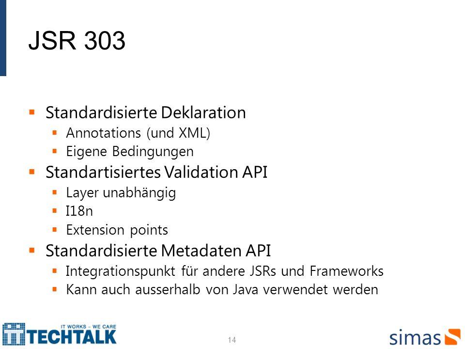 Standardisierte Deklaration Annotations (und XML) Eigene Bedingungen Standartisiertes Validation API Layer unabhängig I18n Extension points Standardis