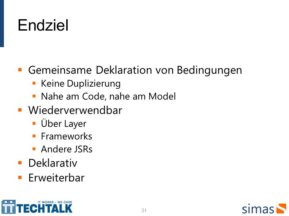 Endziel Gemeinsame Deklaration von Bedingungen Keine Duplizierung Nahe am Code, nahe am Model Wiederverwendbar Über Layer Frameworks Andere JSRs Dekla