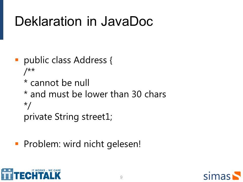 Eigende Bedingung definierien (2) Eine Implementation public class SalaryValidator implements ConstraintValidator { @Override public void initialize(Salary constraintAnnotation) { //no initialization needed } @Override public boolean isValid(Employee emp, ConstraintValidatorContext context) { if (emp == null) { return true; } if (!emp.getName().startsWith( Julius ) && emp.getSalary() > 200000) { return false; } else { return true; } 20
