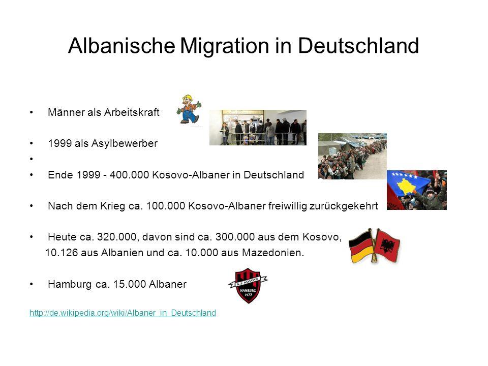 Albanische Migration in Deutschland Männer als Arbeitskraft 1999 als Asylbewerber Ende 1999 - 400.000 Kosovo-Albaner in Deutschland Nach dem Krieg ca.