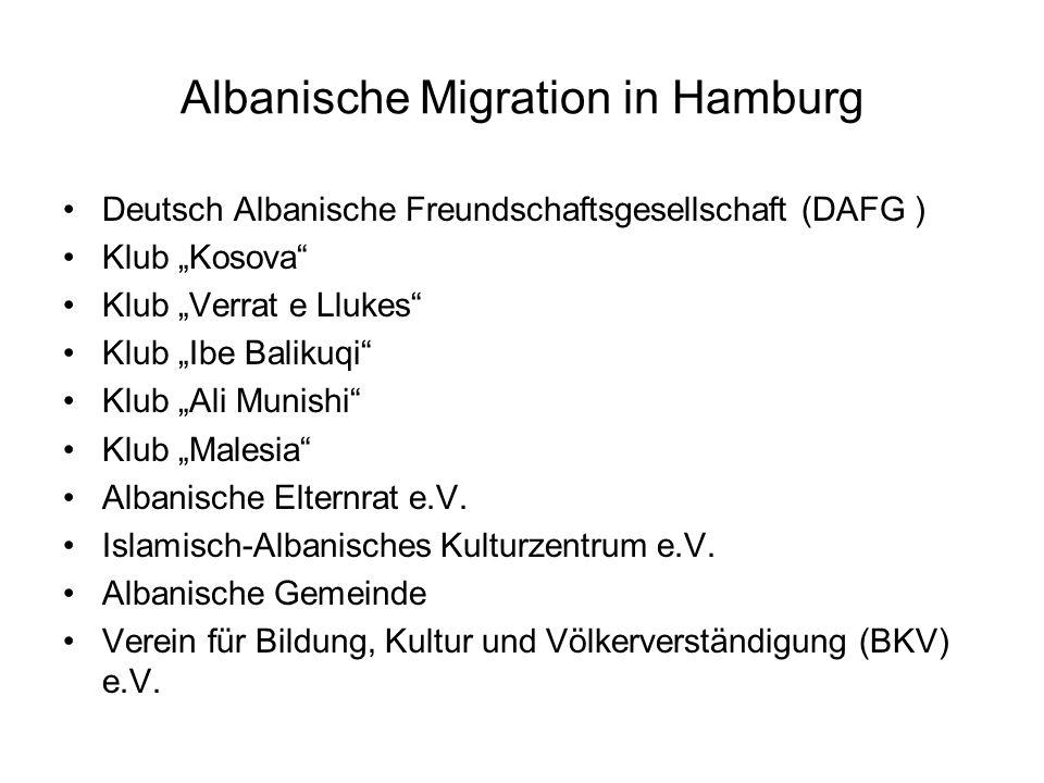 Albanische Migration in Hamburg Deutsch Albanische Freundschaftsgesellschaft (DAFG ) Klub Kosova Klub Verrat e Llukes Klub Ibe Balikuqi Klub Ali Munishi Klub Malesia Albanische Elternrat e.V.