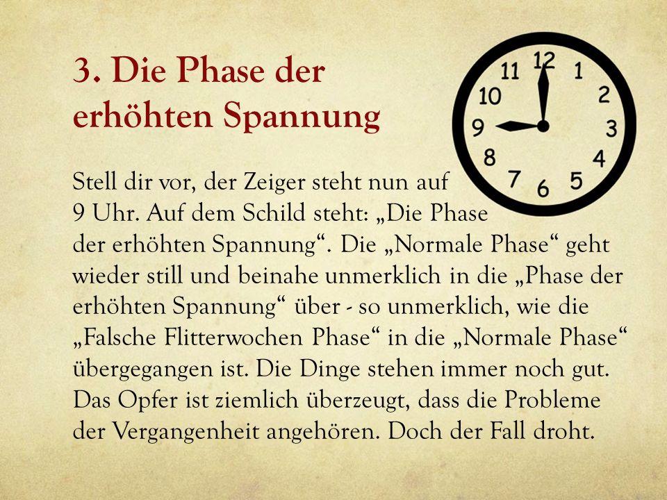 3. Die Phase der erhöhten Spannung Stell dir vor, der Zeiger steht nun auf 9 Uhr. Auf dem Schild steht: Die Phase der erhöhten Spannung. Die Normale P