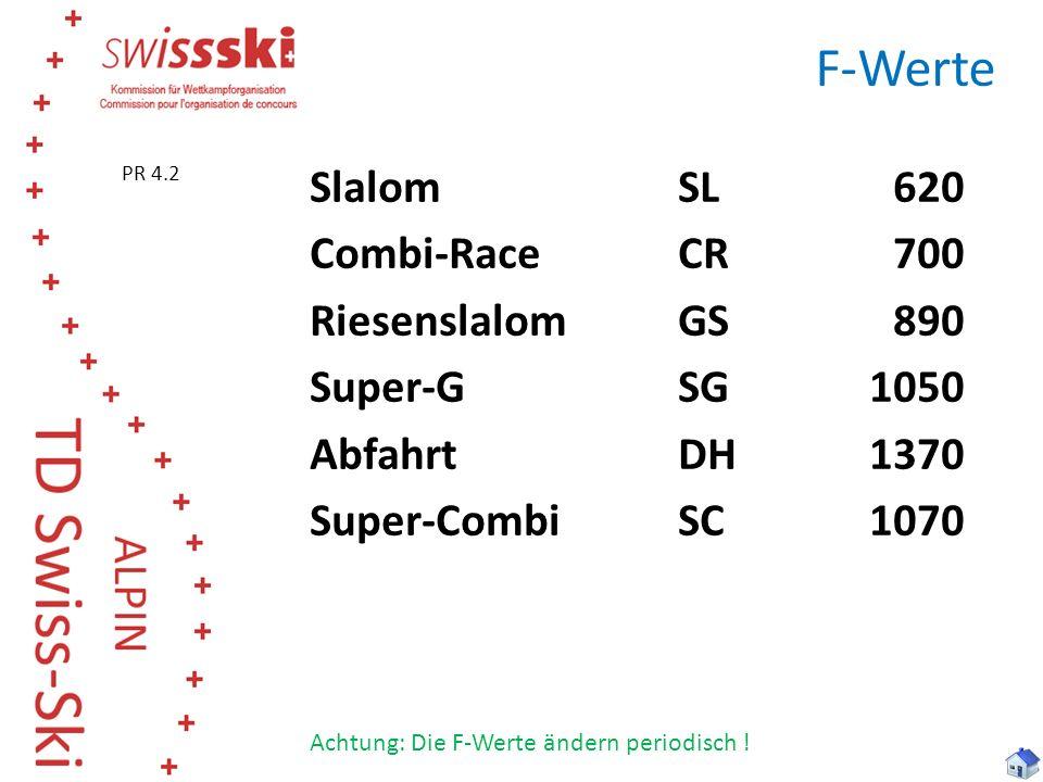 F-Werte SlalomSL 620 Combi-RaceCR700 RiesenslalomGS890 Super-GSG1050 AbfahrtDH1370 Super-CombiSC1070 Achtung: Die F-Werte ändern periodisch ! PR 4.2