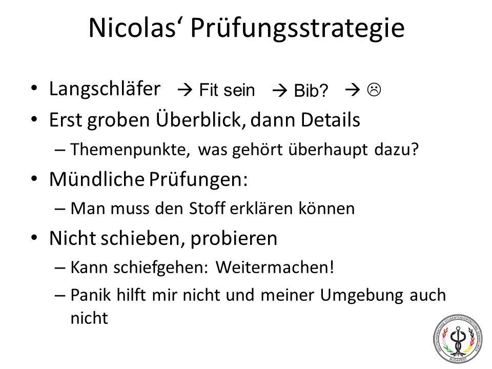 Nicolas Prüfungsstrategie Langschläfer Erst groben Überblick, dann Details – Themenpunkte, was gehört überhaupt dazu? Mündliche Prüfungen: – Man muss