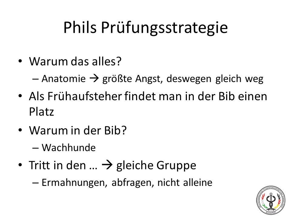 Phils Prüfungsstrategie Warum das alles? – Anatomie größte Angst, deswegen gleich weg Als Frühaufsteher findet man in der Bib einen Platz Warum in der