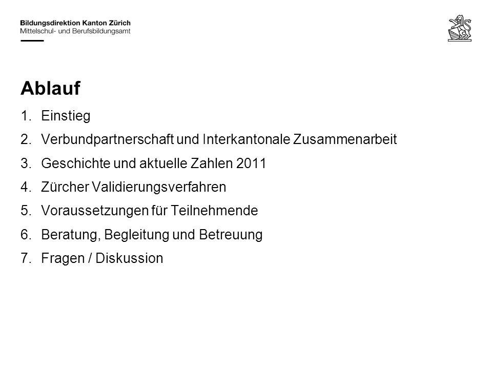 1.Einstieg 2.Verbundpartnerschaft und Interkantonale Zusammenarbeit 3.Geschichte und aktuelle Zahlen 2011 4.Zürcher Validierungsverfahren 5.Voraussetz