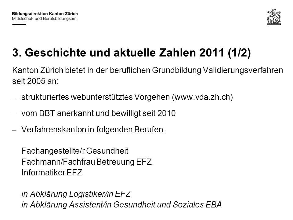 Kanton Zürich bietet in der beruflichen Grundbildung Validierungsverfahren seit 2005 an: – strukturiertes webunterstütztes Vorgehen (www.vda.zh.ch) –